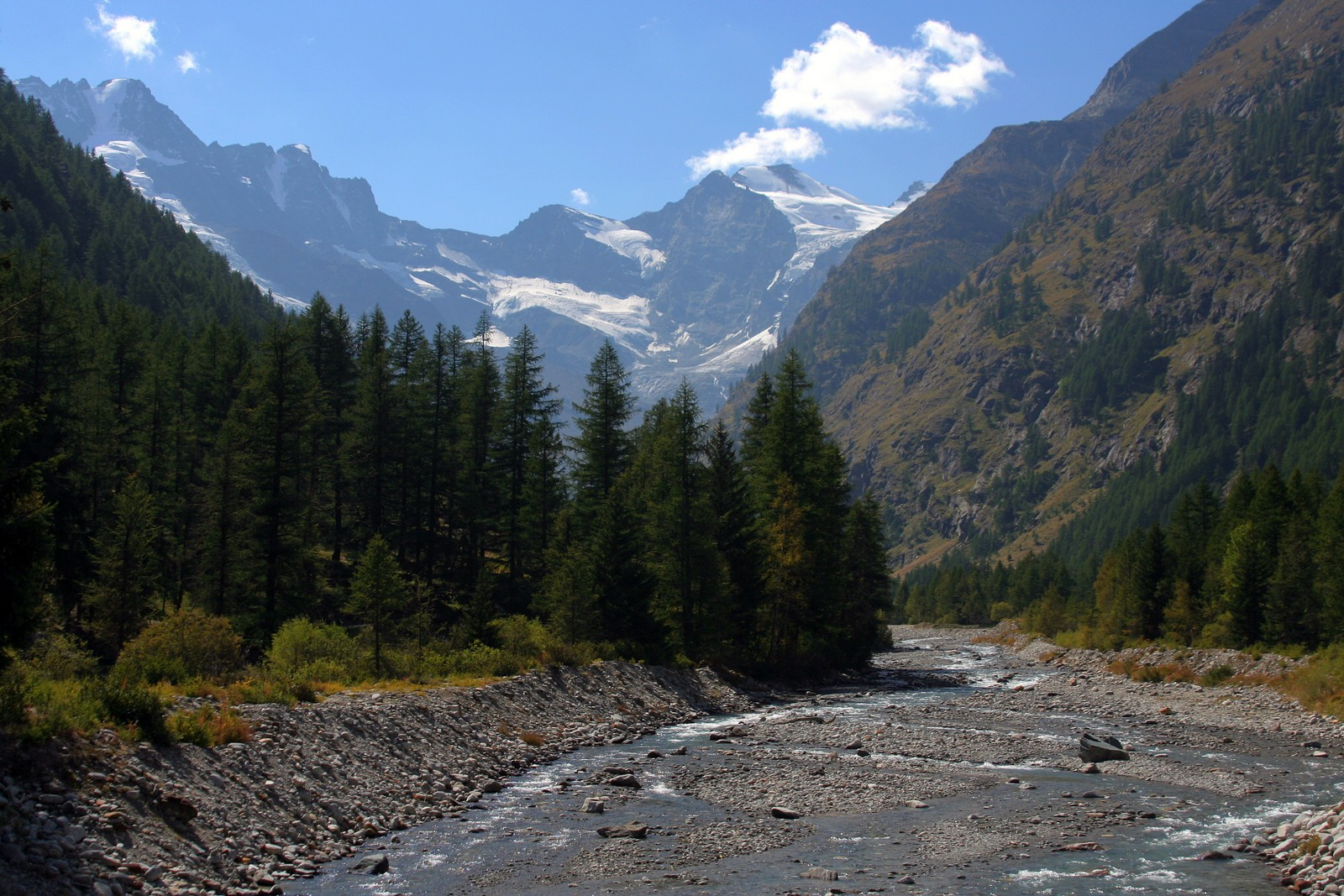 Valnontey River and Gran Paradiso Peak