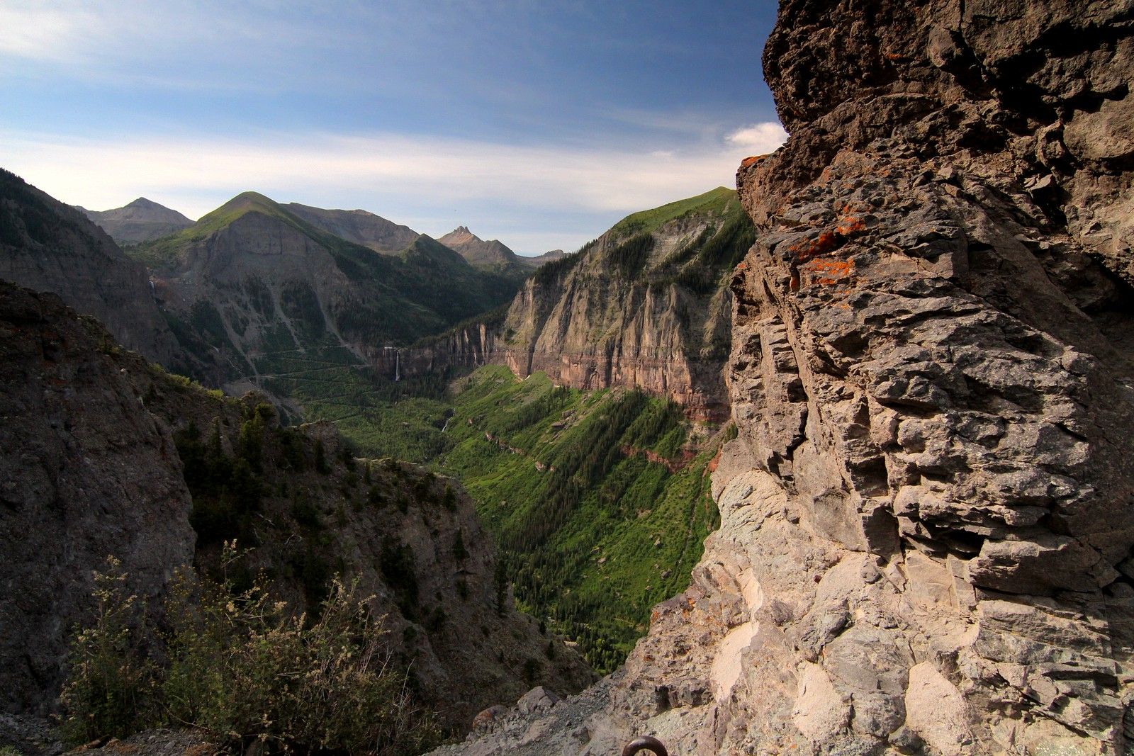 Telluride Valley and Bridal Veil Falls, seen from Tomboy Road.