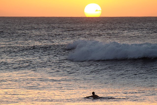 Sunset Surfing in Oahu