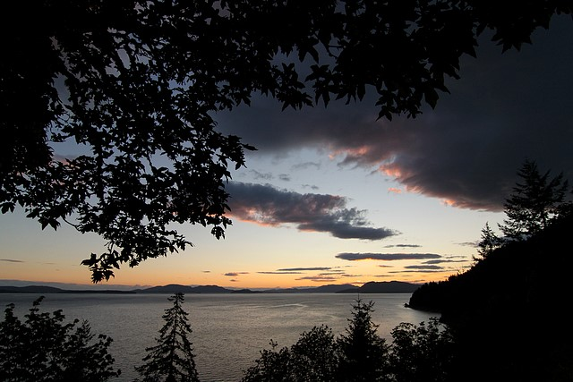 Sunset along Chuckanut Drive<br>Washington State<p>Camera: Canon EOS Rebel T1i<br>Tokina 11-16mm f/2.8 lens