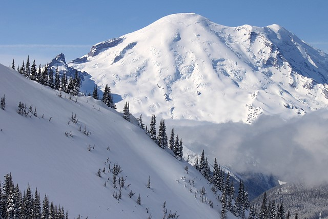 Mt. Rainier from Crystal Mountain<br>Washington State<p>Camera: Canon EOS Rebel T1i<br>Canon 55-250mm IS lens